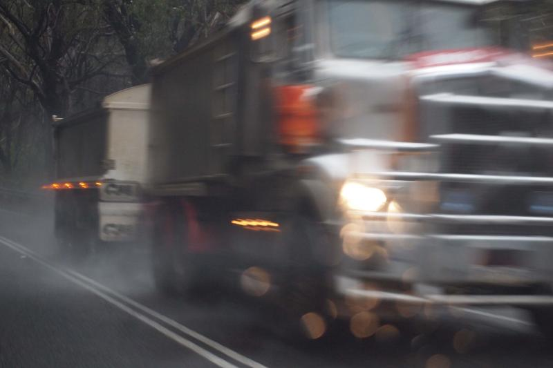 Heavy truck on the Daylesford-Trentham Road